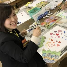 図画工作「カラフルたまご&壁面」(保育科2年生)